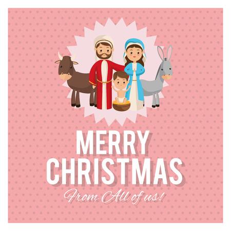 sacra famiglia: Manger rappresentato da un'icona Sacra famiglia su telaio e sfondo pastello. progettazione di Natale Merry.