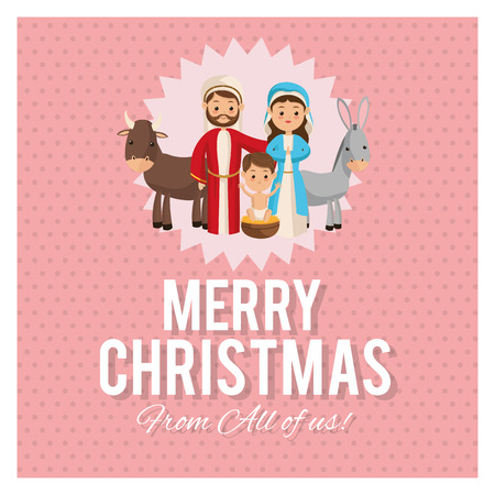 holy family: Manger represented by Holy family icon over frame and pastel background. Merry Christmas design.