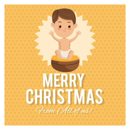 nativety: Manger represented by baby jesus icon over frame and pointed background. Merry Christmas design. Illustration