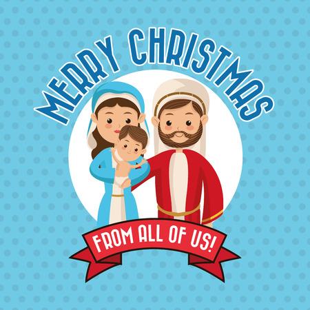 sacra famiglia: Manger rappresentato da un'icona famiglia Santa sopra bollo. fondo a punta. progettazione di Natale Merry.