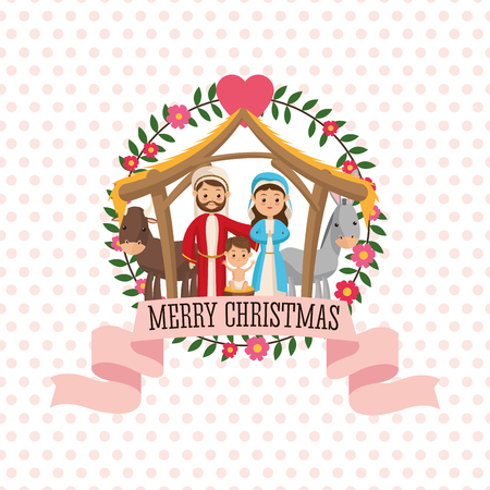 holy family: Manger represented by Holy family icon over seal stamp. pointed  background. Merry Christmas design. Illustration