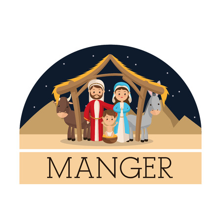 holy family: Manger represented by Holy family icon over isolated and flat background. Merry Christmas design.
