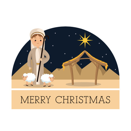 conception: Manger represented by Shepherd icon over isolated and flat background. Merry Christmas design. Illustration