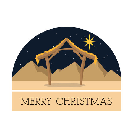 nativety: Manger represented by hut and star icon over isolated and flat background. Merry Christmas design. Illustration