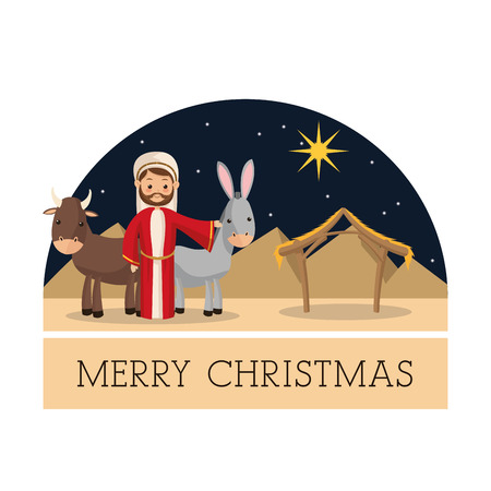 god's cow: Manger represented by Joseph and farm animals  icon over isolated and flat background. Merry Christmas design.