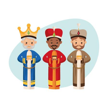 reyes magos: Pesebre representado por el icono Tres hombres sabios sobre el fondo aislado y plana. Feliz Navidad de diseño. Vectores
