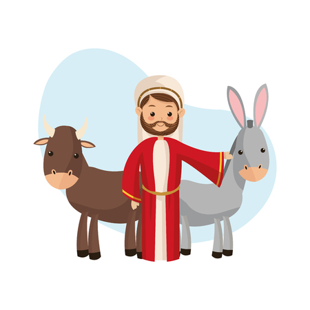 god's cow: Manger represented by Joseph icon over isolated and flat background. Merry Christmas design.