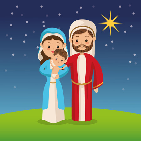 religious celebration: Manger represented by Holy family icon over night background. Merry Christmas design.
