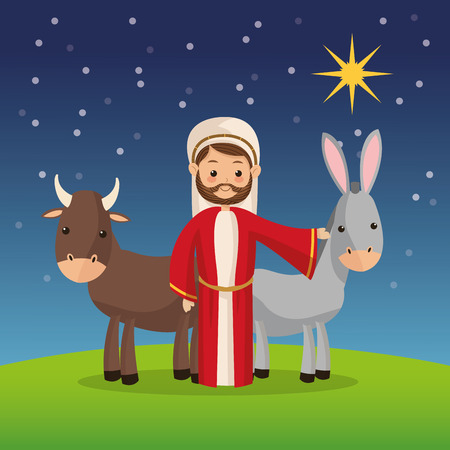 god's cow: Manger represented by Joseph icon over night background. Merry Christmas design. Illustration
