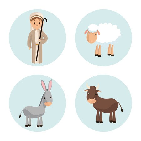 god's cow: Manger represented by Shepherd icon over isolated and flat background. Merry Christmas design. Illustration