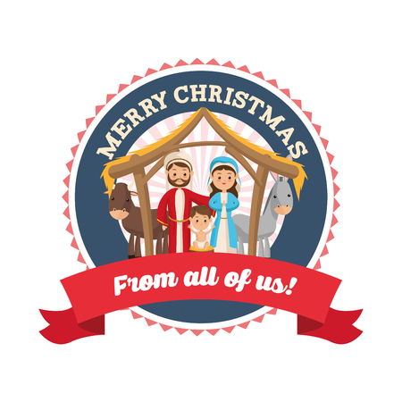 sacra famiglia: Manger rappresentato da un'icona Sacra famiglia su sfondo isolato e piatta. progettazione di Natale Merry.