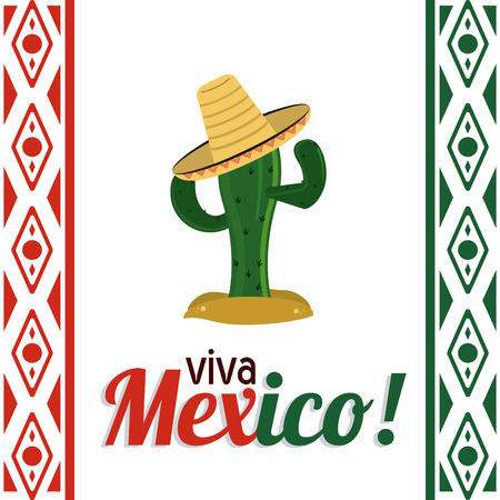 mexico culture: Mexico culture represented by cactus with hat icon. Colorfull and flat background