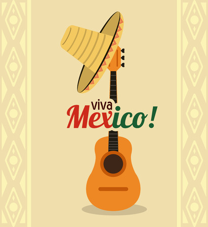 mexico culture: Mexico culture represented by hat and guitar icon. Colorfull and flat background Illustration