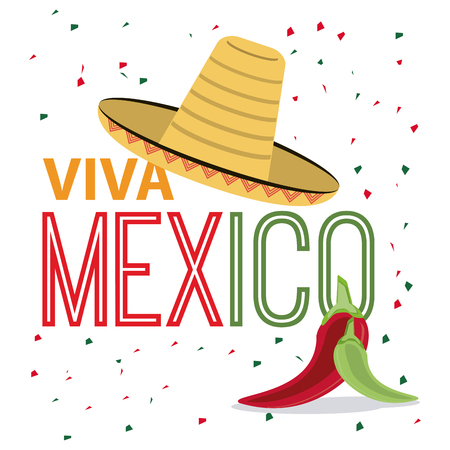 mexico culture: Mexico culture represented by hat and pepper icon. Colorfull and flat background Illustration