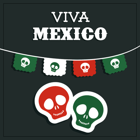 mexico culture: Mexico culture represented by skull icon. Colorfull and flat background