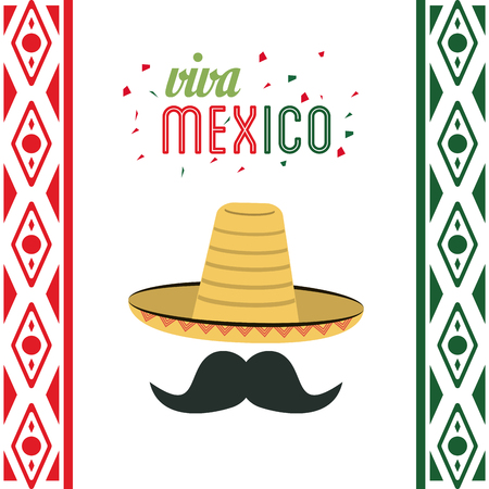 mexico culture: Mexico culture represented by hat and mustache  icon. Colorfull and flat background Illustration