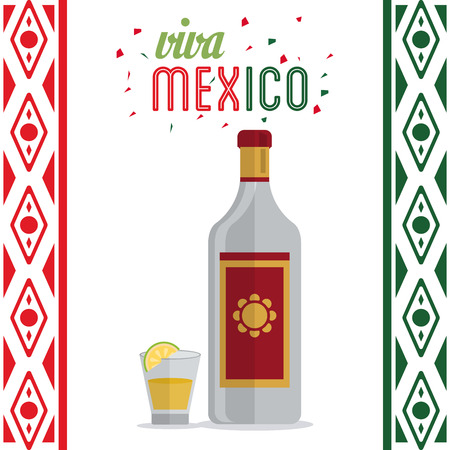 mexico culture: Mexico culture represented by tequila bottle and shot icon. Colorfull and flat background
