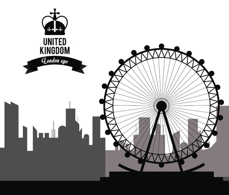 london eye: United kingdom concept represented by london eye  icon. isolated and flat background Illustration