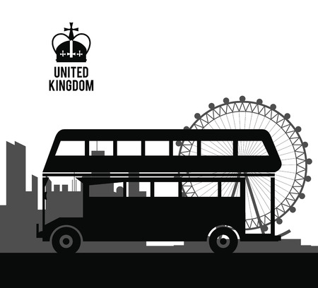 전통적인 버스 아이콘으로 표현하는 영국 왕국 개념. 절연 및 평면 그림 벡터 (일러스트)