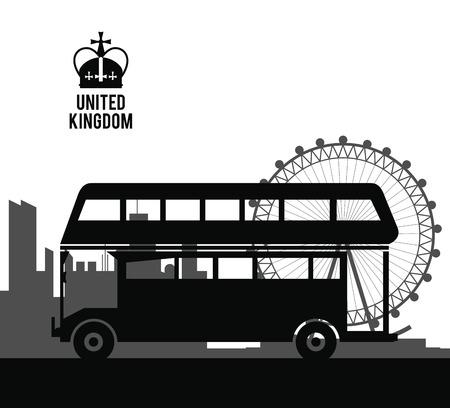Concepto de Reino Unido representado por el icono de autobús tradicional. Ilustración aislada y plana Ilustración de vector