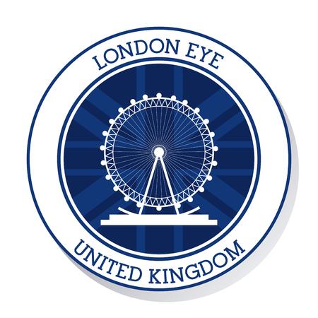london eye: United kingdom concept represented by london eye icon. Colorfull and flat illustration Illustration