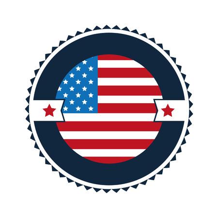 elaborate: flat design united states flag round badge with elaborate frame vector illustration