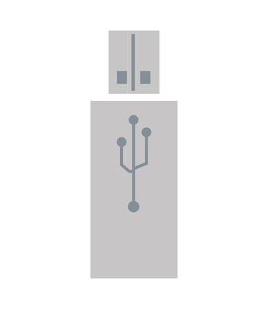 usb drive: grey flat design of usb drive icon vector illustration