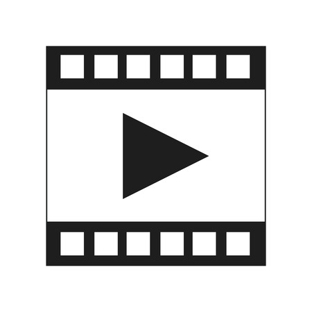photo slide: black and white film strip with play vector illustration