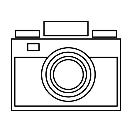 photographic camera: simple black line photographic camera vector illustration