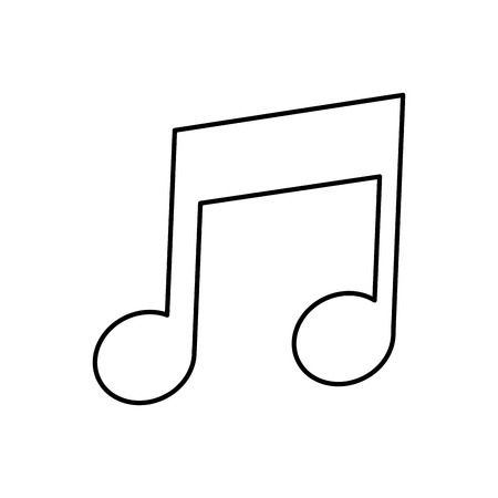 eighth: simple black line musical eighth note icon vector illustration Illustration