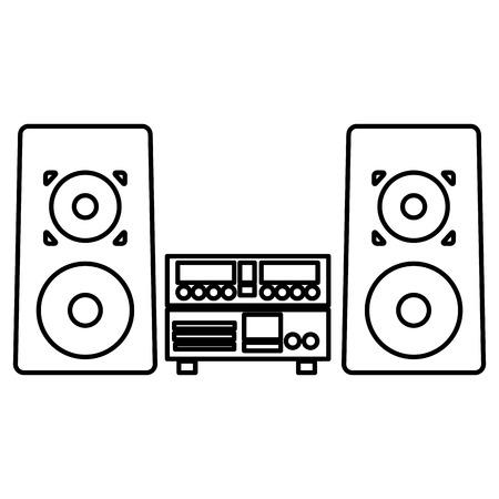equipo de sonido: Ilustración simple línea de negro icono del sistema estéreo del vector