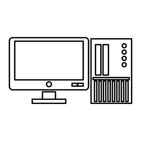 sd: simple black line computer with sd card icon vector illustration