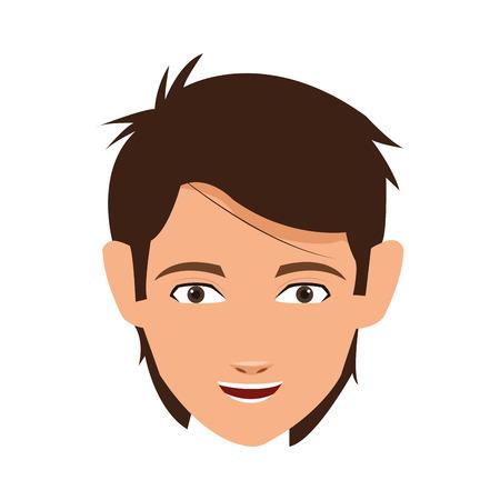 brown hair: head of brown hair man smiling vector illustration