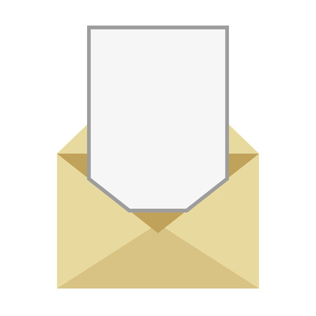 unfolded: flat design open envelope with blank paper coming out vector illustration