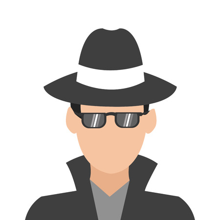 caucasian man: flat design caucasian man wearing hat sunglasses and jacket vector illustration Illustration