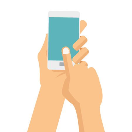 cellphone icon: flat design hands holding cellphone with button vector illustration