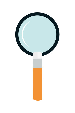scrutiny: flat design of magnifying glass with orange handle vector illustration
