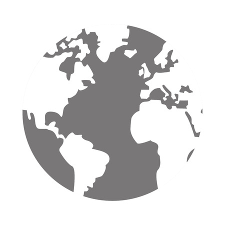 distinction: simple flat design grey and white world globe with water and land distinction vector illustration