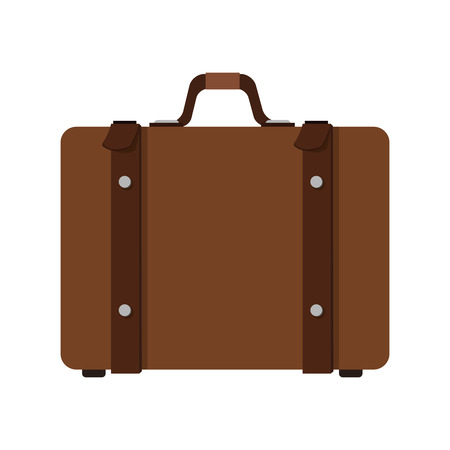 straps: flat design brown suitcase with straps and handle icon vector illustration Illustration