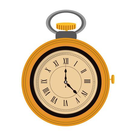 pocket watch: yellow flat design pocket watch icon vector illustration