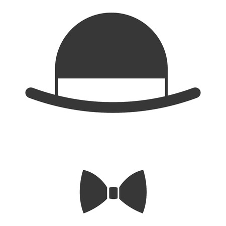 fake mask: simple flat design vintage hat over bowtie icon vector illustration Illustration