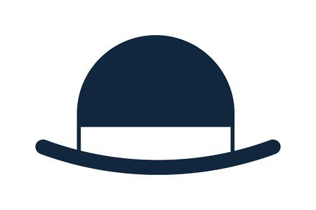 brim: blue simple flat design of vintage hat vector illustration Illustration