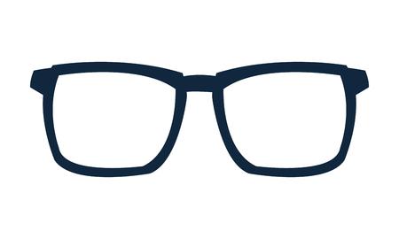 eye wear: simple flat design blue frame glasses icon vecto illustration