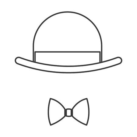fake mask: simple black line vintage hat over bowtie icon vector illustration