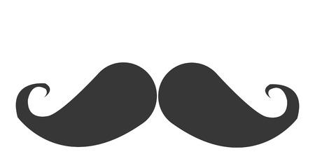 burly: grey simple flat design vintage mustache icon vector illustration