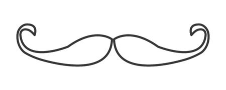 simple black line vintage mustache icon vector illustration