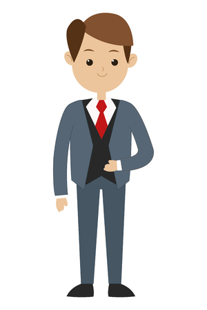 tailored: flat design brown hair man wearing formal suit with tie vector illustration