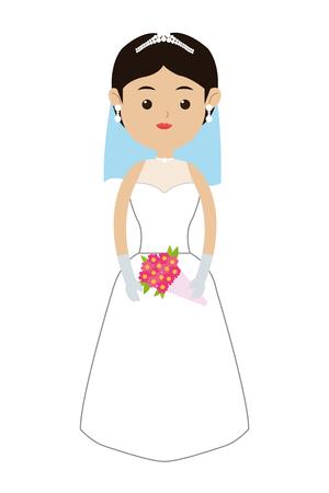 veil: flat design of caucasian bride wearing tiara veil and bouquet icon vector illustration Illustration