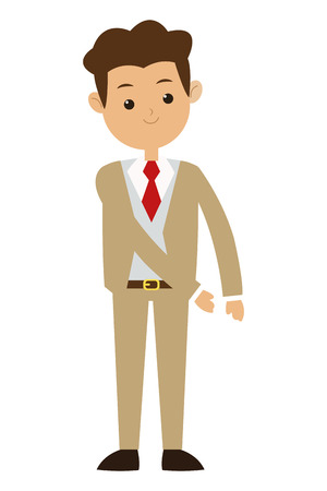 tailored: flat design brown hair man wearing beige formal suit with tie vector illustration