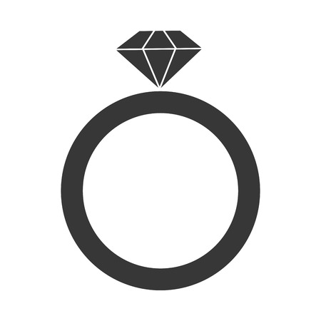 carat: grey simple flat design engagement ring vector illustration
